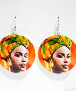 Women's popular new painted African portrait wooden earrings SZAX-222