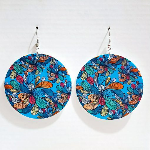 New round painted popular wooden earrings SZAX-204