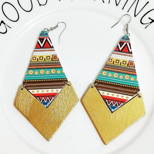 New geometric diamond stitching painted wooden earrings 30*40mm SZAX-202