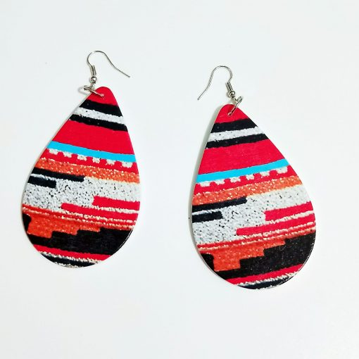 Popular printing color drop shape Fashion wood earrings SZAX-254