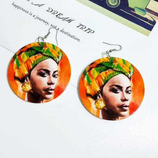 Women's popular new painted African portrait wooden earrings SZAX-222