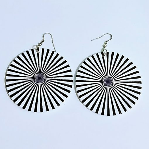 Vintage geometric print exaggerated bohemian ethnic wooden earrings SZAX-176