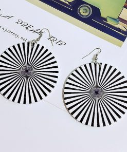 Vintage geometric print exaggerated bohemian ethnic wooden earrings SZAX-176