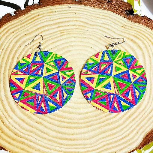 Exaggerated geometric pattern round Fashion wood earrings SZAX-243