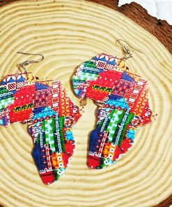 Best selling laser engraving printing painted Africa map wooden earrings SZAX-233