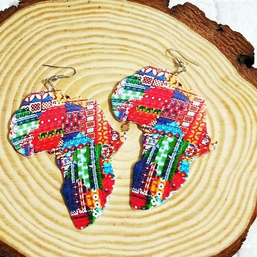 Best selling laser engraving printing painted Africa map wooden earrings SZAX-233