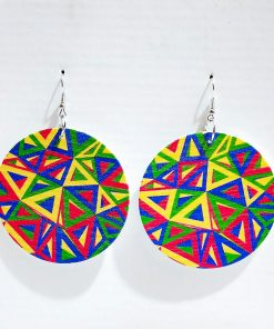 Exaggerated geometric pattern round Fashion wood earrings SZAX-243