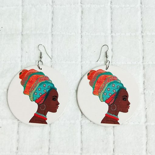 Exaggerated print geometric round painted African head portrait fashion wood earrings SZAX-236