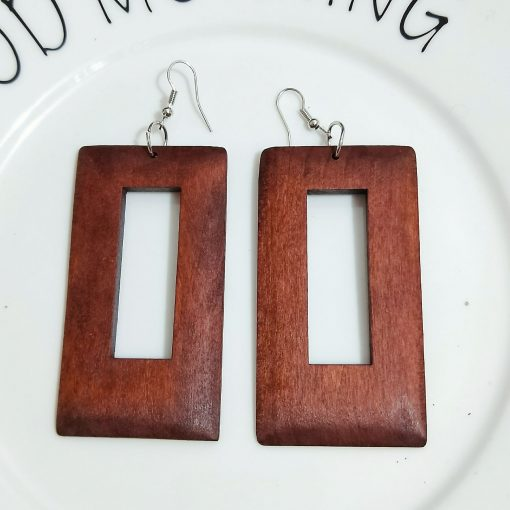 European and American popular geometric personality ultra-light wood earrings SZAX-261