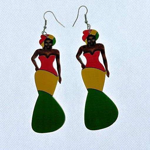 New wooden earrings African humanoid earrings Mixed batch SZAX-199
