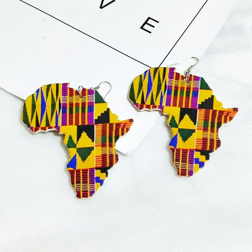 Popular African pattern geometric map wood earrings personality simple retro painted wooden earrings SZAX-191