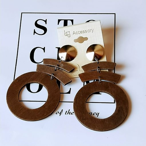 Exaggerated African series stitching pattern geometric round wooden earrings Mixed batch SZAX-174