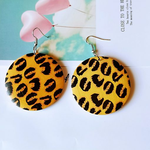 European and American popular leopard pattern fashion wood earrings SZAX-248