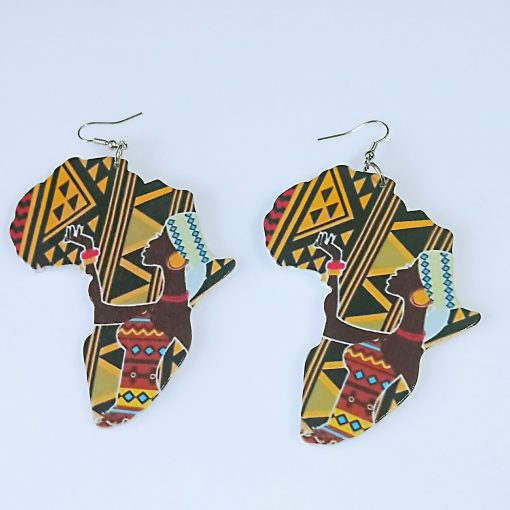 Women's African Collection Simple Vintage Engraved Printed Wooden Stud Earrings SZAX-188