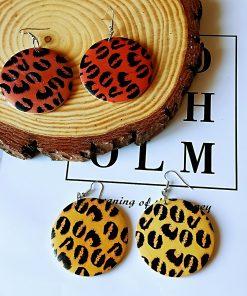 European and American popular leopard pattern fashion wood earrings SZAX-248