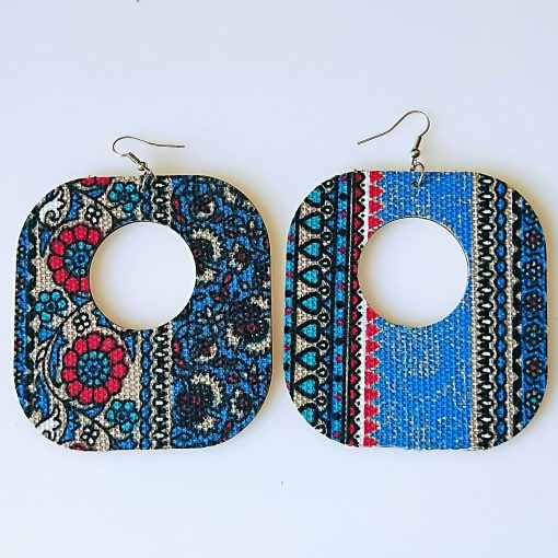 Exaggerated African series pattern geometric square fashion wood earrings 80mm Mixed batch SHAX-166