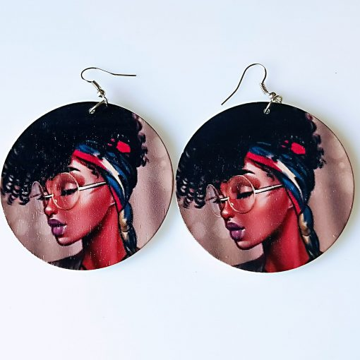 Influx of African retro geometric print personality exaggerated ethnic style wooden earrings SZAX-175