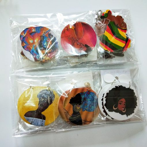Women's popular new painted African portrait wooden earrings Mixed batches shipped SZAX-225