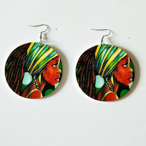 European and American popular people image ultra-light geometric round wood earrings mixed batch SZAX-271