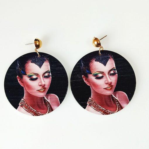 Women's popular new painted African portrait wooden earrings mixed batch SZAX-224
