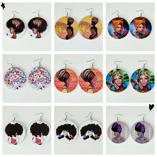 New African portrait series painted popular wooden earrings mixed batch SZAX-206