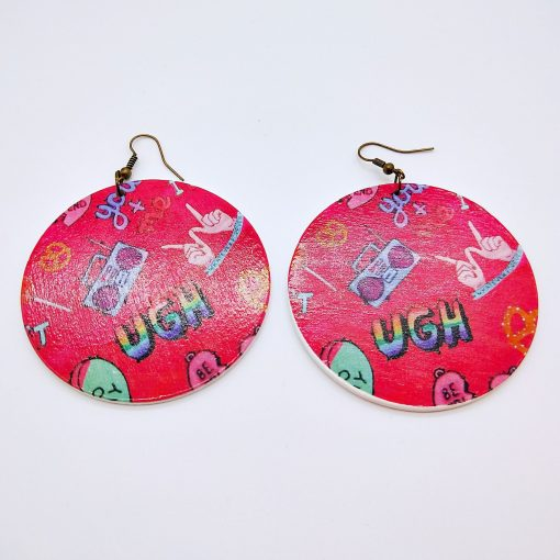 Popular wooden earrings personalized simple retro painted wooden earrings mixed batch SZAX-194