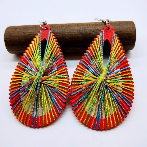 Women's personality simple retro DIY winding line wooden drop shape ethnic wind earrings wholesale SZAX-185
