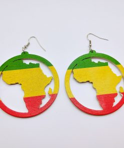 African vintage wooden geometric printing temperament personality exaggerated national style earrings SHAX-168