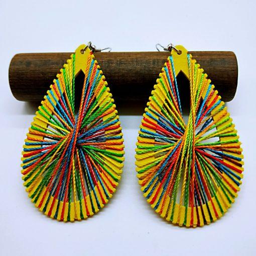 Women's personality simple retro DIY winding line wooden drop shape ethnic wind earrings wholesale SZAX-185