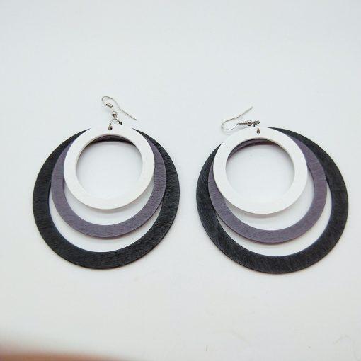 Exaggerated geometric round stylish wood earrings SZAX-241