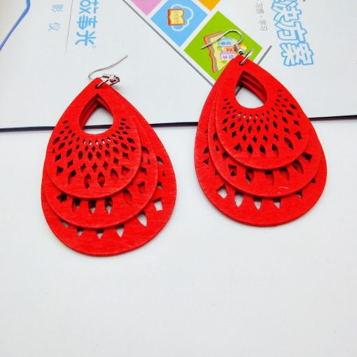 Popular drop-shaped engraving hollow wooden earrings SZAX-193