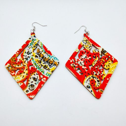 Europe and the United States popular retro ethnic style geometric hollow fashion wood earrings SZAX-250