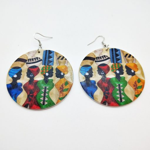 Women's hot personality simple retro painted round wooden earrings SZAX-189