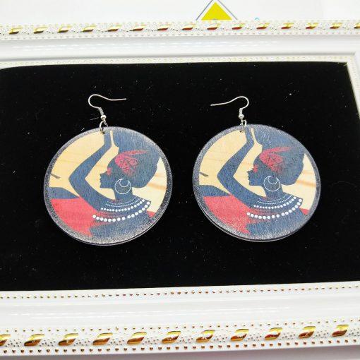 Women's earrings 60mm exaggerated ethnic style wooden fashion pattern earrings SZAX-172