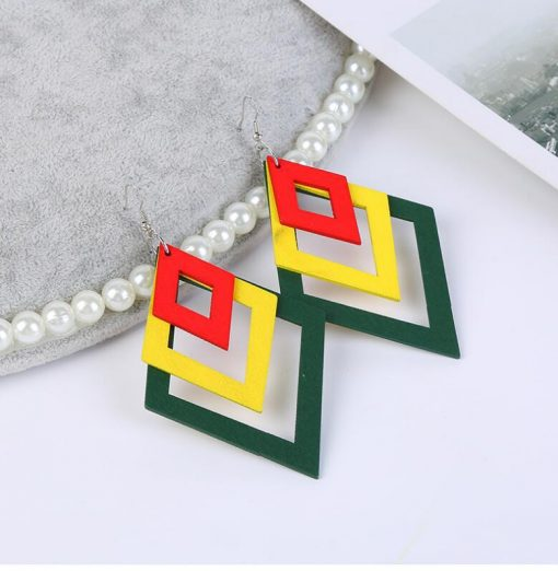 Korean creative temperament ladies fashion color simple diamond shaped wooden earrings SHAX-170
