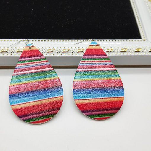 Women's popular new drop-shaped wooden earrings Mixed batch SZAX-219