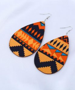 Female Korean personality simple retro wood patch oval wooden geometric earrings mixed batch SZAX-207