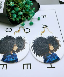 European and American popular people image ultra light geometric round wood earrings SZAX-270