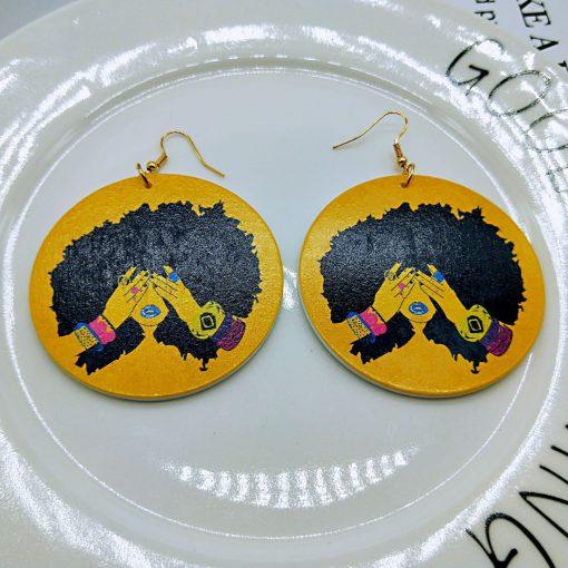 New wooden earrings geometric African black engraving round earrings SZAX-198