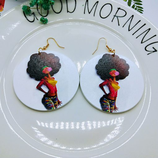 African series simple retro print round wooden geometric earrings SZAX-177