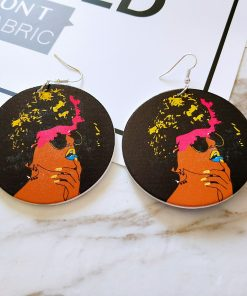 Popular new African portrait series painted wooden earrings SZAX-215