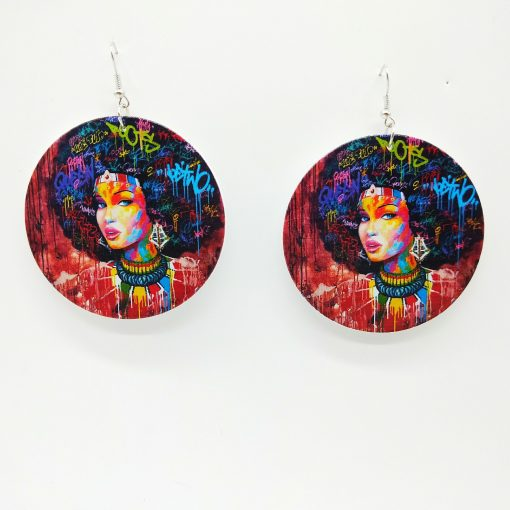 African series human head pattern geometric round wooden earrings SZAX-179