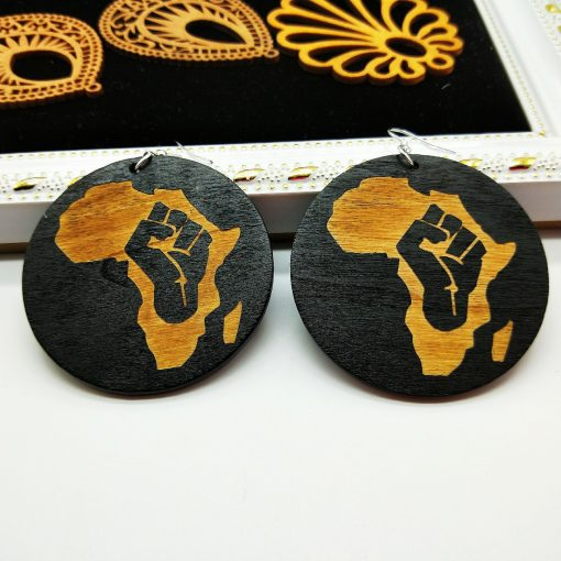Women's earrings 60mm exaggerated ethnic style wooden fashion pattern earrings mixed batch SZAX-173