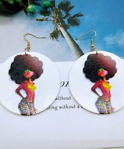 African series simple retro print round wooden geometric earrings SZAX-177