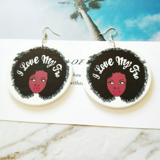 Exaggerated print geometric round painted African head fashion wood earrings SZAX-237