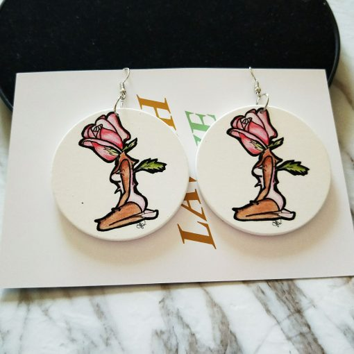 Popular new rose girl painted wooden earrings SZAX-217