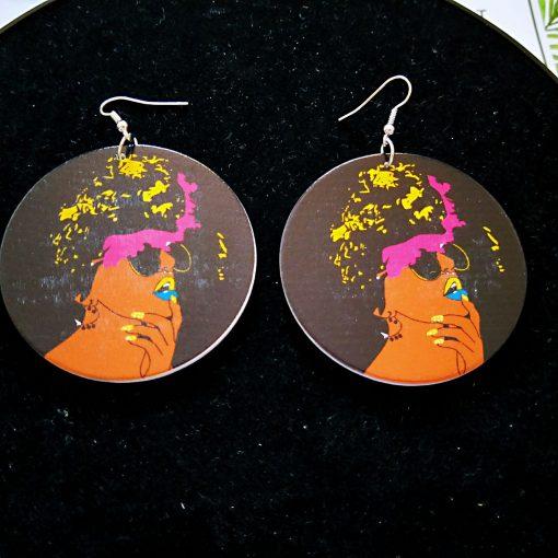 Popular new African portrait series painted wooden earrings SZAX-215