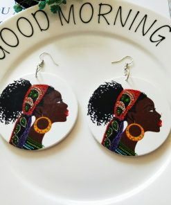 Popular wooden earrings personalized simple retro painted round wooden earrings SZAX-190