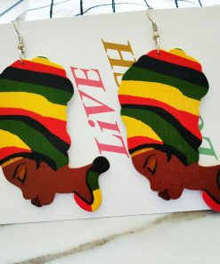 African series of simple and retro printed wooden earrings SZAX-178