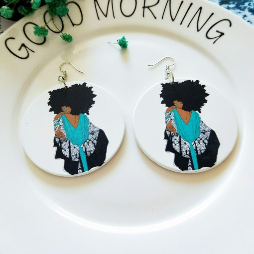New round painted African portrait wooden earrings SZAX-203